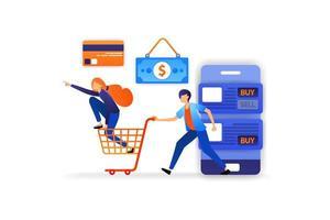 magasinez de plus en plus amusant en ligne avec une variété d'options de paiement en espèces, cartes de crédit, transferts .. concept d'illustration vectorielle pour, page de destination, web, interface utilisateur, bannière, affiche, modèle, arrière-plan vecteur