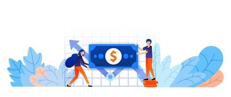 augmenter la croissance des actifs pour atteindre l'objectif. analyse du rapport de performance du capital pour définir la stratégie. jeu et artisanat concept d'illustration vectorielle entreprise pour page de destination, web, interface utilisateur, bannière, flyer, affiche vecteur