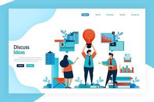 page de destination de discuter de l'idée. brainstorming pour obtenir une idée d'entreprise innovante, unique, qui résout les problèmes, rentable améliorer la stratégie commerciale et l'innovation des produits. pour site Web, applications mobiles vecteur