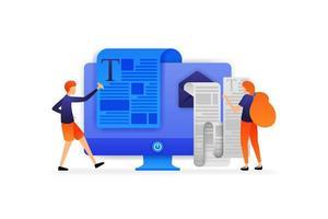 les gens écrivent des documents à envoyer et les femmes lisent des e-mails contenant de longs messages. concept d'illustration vectorielle entreprise pour, page de destination, web, ui, bannière, flyer, affiche, modèle, arrière-plan, annonces, ui