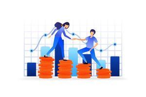 développer les actifs d'investissement monétaire en profit. suivre la gestion comptable de l'entreprise avec des schémas et des paniers. concept d'illustration vectorielle pour page de destination, web, interface utilisateur, bannière, flyer, affiche, modèle vecteur