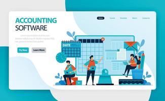 page de destination du logiciel de comptabilité. processus comptable d'enregistrement des transactions financières relatives aux affaires. résumer, analyser et rendre compte aux agences de surveillance, aux régulateurs et à la fiscalité vecteur