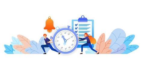 définissez l'heure et les horaires qui ont été planifiés. gestion du temps aux réalisations. parler en tapant le concept d'illustration vectorielle pour la page de destination, web, interface utilisateur, bannière, flyer, affiche, modèle, arrière-plan vecteur