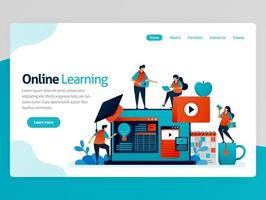 illustration vectorielle pour la page de destination d'apprentissage en ligne. idées d'efficacité pédagogique d'apprentissage à distance. didacticiels vidéo sur la plateforme d'apprentissage de la comptabilité. application de modèle de page Web d'en-tête de page d'accueil