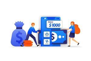 applications bancaires mobiles. endroit sûr pour économiser de l'argent, une femme ajoute de l'argent à déposer sur le compte. concept d'illustration vectorielle entreprise pour, page de destination, web, interface utilisateur, bannière, flyer, affiche, modèle, arrière-plan