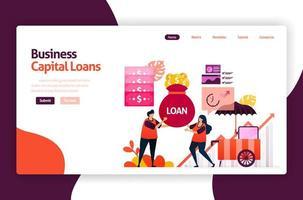 illustration vectorielle de prêts de capital-risque pour le développement et l'investissement des PME. crédit à faible taux d'intérêt pour les jeunes entrepreneurs et les entreprises en démarrage. pour site Web, page de destination, bannière, applications mobiles, flyer
