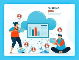 illustration vectorielle pour le partage des emplois et le service de réseau cloud. personnages de dessins animés de vecteur humain. conception de pages de destination, web, site Web, page Web, applications mobiles, bannière, flyer, brochure, affiche