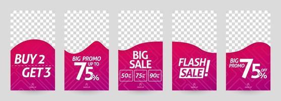 illustrations abstraites du modèle d'histoire de médias sociaux. après remise et vente pour la mode et la vente au détail moderne. publicité, marketing, promotion en ligne. brochure imprimée numérique, flyer, bannière, carte vecteur