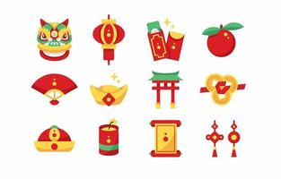 icônes plates du nouvel an chinois