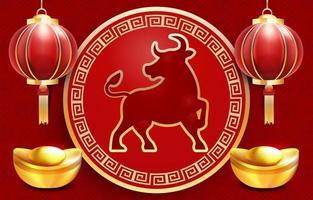 carte postale réaliste du nouvel an chinois vecteur