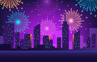 skyline néon dégradé avec feux d'artifice colorés vecteur