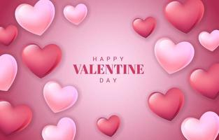 Saint-Valentin romantique rouge avec coeur poli vecteur