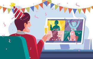 nouveau concept de fête en ligne de protocole normal