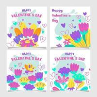 ensemble de cartes de fleurs de la Saint-Valentin vecteur