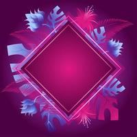 fond floral violet avec des effets néon et des reflets vecteur