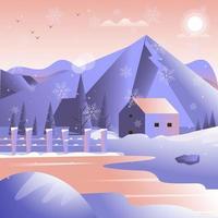 belle soirée de pluie de flocons de neige sur une maison vue sur la montagne vecteur