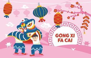 danse du lion gong xi fa cai salutation vecteur