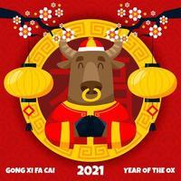le bœuf de voeux de nouvel an vecteur