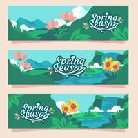 bannière de la saison printemps nature vecteur