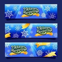 bannière de flocons de neige nature vecteur