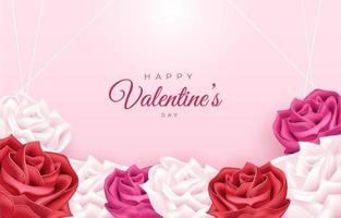 joyeuses saint valentin avec fond de fleurs vecteur