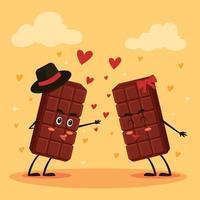 chocolat, barre, couple, baisers vecteur