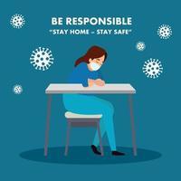 campagne de rester responsable à la maison avec une ambulancière inquiète vecteur