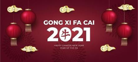 gong xi fa cai 2021 fond vecteur