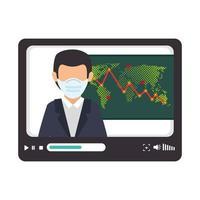 Variation du marché boursier par covid 19 homme d'affaires en tablette vecteur
