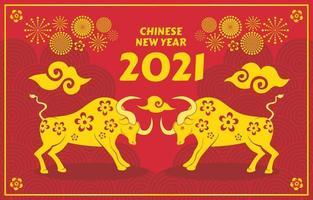 bœuf d'or nouvel an chinois 2021 vecteur