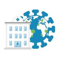 planète mondiale avec des particules covid 19 et façade de l'hôpital vecteur