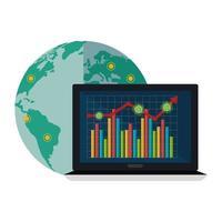 variation du marché boursier par covid 19 avec ordinateur portable et icônes vecteur