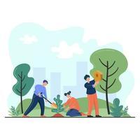 éco-volontaires plantant un arbre dans un parc vecteur