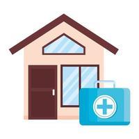 poignée de kit médical avec façade de maison vecteur