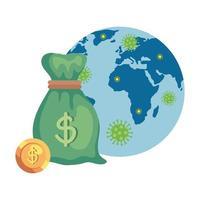 sac d'argent avec planète mondiale et particules covid 19