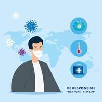 campagne de rester responsable à la maison avec le médecin et les icônes médicales vecteur