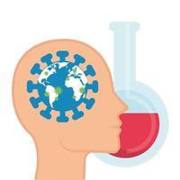 Planète mondiale avec des particules covid 19 dans le profil de la tête et essai en tube vecteur