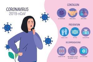 femme malade avec des infographies covid19 vecteur