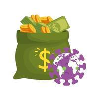 sac d'argent avec des particules covid 19