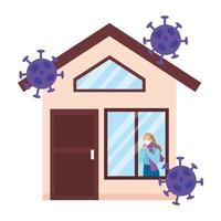 femme reste à la maison avec des particules de covid19 vecteur