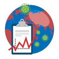 planète terre avec des particules covid19 et des flèches statistiques dans le presse-papiers