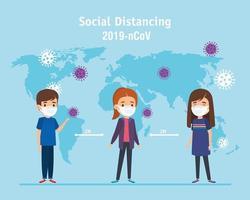 campagne de distanciation sociale pour la ncov 2019 avec des enfants utilisant un masque facial vecteur
