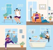 jeune couple reste à la maison dans la baignoire vecteur