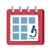 rappel de calendrier avec icône isolé microscope vecteur