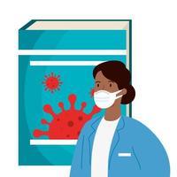 docteur femme afro et livre avec des particules covid 19 vecteur