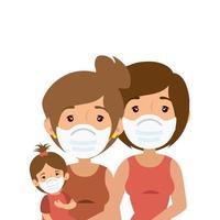 mères lesbiennes avec fille utilisant un masque facial vecteur