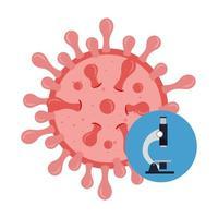 particule covid 19 avec icône isolé microscope vecteur