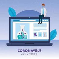 médecin avec médecine en ligne par test de covid 19 vecteur