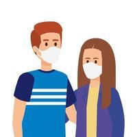 jeune couple, utilisation, masque visage, icône isolé vecteur