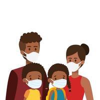 parents avec enfants afro utilisant un masque facial vecteur